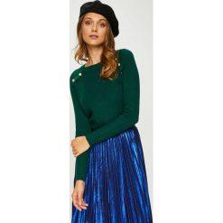 Answear - Sweter. Niebieskie swetry klasyczne damskie ANSWEAR, l, z dzianiny, z dekoltem w łódkę. W wyprzedaży za 99,90 zł.