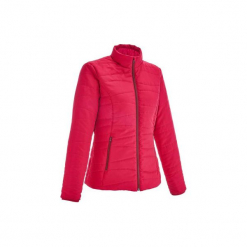 Kurtka turystyczna zimowa Arpenaz 600 damska. Czerwone kurtki damskie zimowe marki TRIBORD, z materiału. Za 59,99 zł.