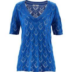 Sweter ażurowy, krótki rękaw bonprix lazurowy niebieski. Niebieskie swetry klasyczne damskie marki bonprix, z dekoltem w serek. Za 37,99 zł.