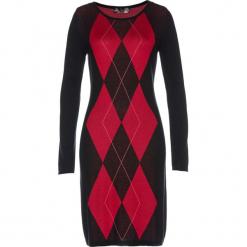 Sukienka dzianinowa bonprix czarno-czerwony. Czerwone sukienki balowe marki Mohito, l, z weluru. Za 129,99 zł.