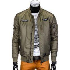 KURTKA MĘSKA PRZEJŚCIOWA BOMBERKA C331 - OLIWKOWA. Zielone kurtki męskie bomber marki Ombre Clothing, m, z aplikacjami, z nylonu. Za 79,00 zł.