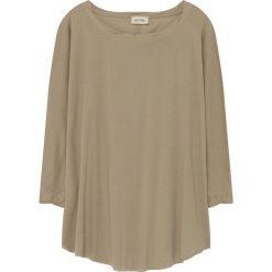 Koszulka w kolorze beżowym. Brązowe bluzki nietoperze American Vintage, s, z bawełny, z okrągłym kołnierzem, z długim rękawem. W wyprzedaży za 86,95 zł.