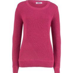 Sweter bawełniany, długi rękaw bonprix jeżynowo-czerwony. Czerwone swetry klasyczne damskie marki bonprix, z bawełny. Za 49,99 zł.