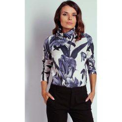Kwiatowa Bluzka z Szerokim Golfem. Białe bluzki asymetryczne Molly.pl, l, z dzianiny, eleganckie, z golfem, z długim rękawem. Za 97,90 zł.