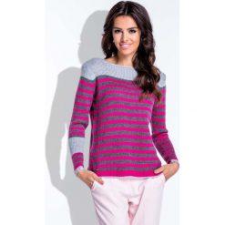 Bluzki damskie: Szaro-Różowa Bluzka Swetrowa w Paski
