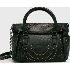 Desigual - Torebka. Czarne torebki klasyczne damskie Desigual, w paski, z poliesteru, średnie. Za 239,90 zł.