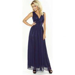 Granatowa Sukienka Wieczorowa Maxi z Dekoltem V. Niebieskie długie sukienki marki Molly.pl, na studniówkę, l, wizytowe, z długim rękawem, dopasowane. Za 319,90 zł.
