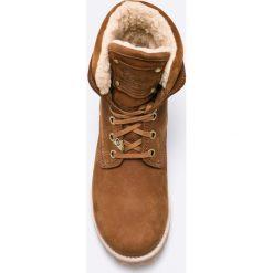 Panama Jack - Botki New Aviator. Brązowe buty zimowe damskie Panama Jack, z materiału, z okrągłym noskiem, na obcasie, na sznurówki. W wyprzedaży za 449,90 zł.