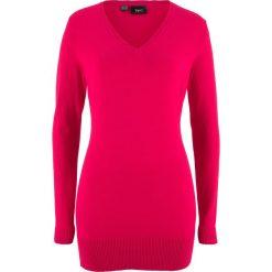 Długi sweter bonprix czerwony. Czerwone swetry klasyczne damskie marki bonprix, z dzianiny. Za 59,99 zł.