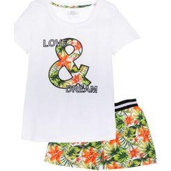 Piżamy damskie: Piżama z krótkimi spodniami, bawełna organiczna bonprix biały w kwiaty