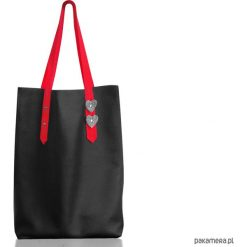 Shopper bag damskie: Worek ze skóry naturalnej XL czarny