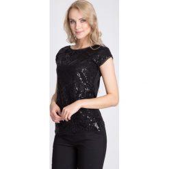 Bluzki asymetryczne: Czarna bluzka z cekinowym wzorem QUIOSQUE