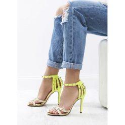 Sandały damskie: Beżowo-Zielone Sandały Exemplary