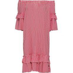"""Sukienka shirtowa z dekoltem """"carmen"""" bonprix czerwono-biały w paski. Czerwone sukienki letnie marki Mohito, l, z materiału, z falbankami. Za 129,99 zł."""
