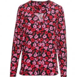 Bluzka z nadrukiem bonprix czarny w kwiaty. Czarne bluzki damskie bonprix, w kwiaty, z dekoltem w serek. Za 74,99 zł.