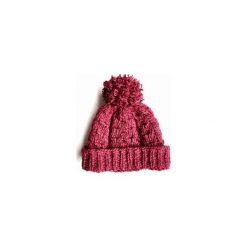Czapka różowa z pomponem. Czerwone czapki zimowe damskie Miw collection, z wełny. Za 99,00 zł.