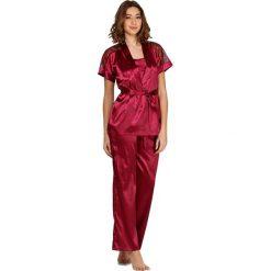 Piżamy damskie: Piżama w kolorze bordowym - koszulka, spodnie, szlafrok