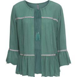 Bluzka z wiązanym troczkiem bonprix zielony. Zielone bluzki asymetryczne bonprix, z kontrastowym kołnierzykiem. Za 49,99 zł.