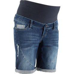 """Szorty dżinsowe ciążowe bonprix niebieski """"stone"""". Niebieskie spodnie ciążowe marki bonprix, z nadrukiem. Za 109,99 zł."""