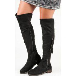 ZAMSZOWE KOZAKI BOHO. Czarne buty zimowe damskie QUEENTINA, z zamszu. Za 114,90 zł.