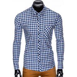 Koszule męskie na spinki: KOSZULA MĘSKA Z DŁUGIM RĘKAWEM K422 – BEŻOWA/NIEBIESKA