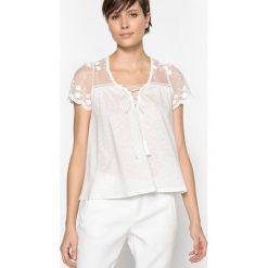 T-shirty damskie: Gładki T-shirt z dekoltem w kształcie litery V i krótkim rękawem