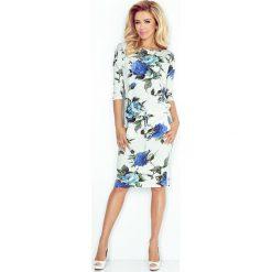 Joli Sukienka sportowa - ECRU + kolorowe duże CHABROWE kwiaty. Niebieskie sukienki na komunię marki numoco, na imprezę, s, w kwiaty, z jeansu, sportowe, sportowe. Za 109,00 zł.