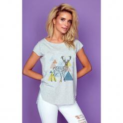 Bluzka t-shirt renifer k237. Niebieskie bluzki longsleeves marki SaF, na co dzień, xl, z żakardem, z asymetrycznym kołnierzem, dopasowane. Za 69,00 zł.