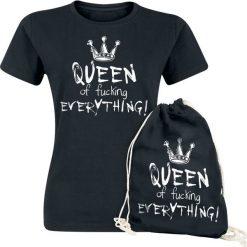 Queen Of Fucking Everything Koszulka damska + Torba treningowa czarny. Czarne bluzki na imprezę Queen Of Fucking Everything, xl, z nadrukiem, z bawełny, z okrągłym kołnierzem. Za 74,90 zł.