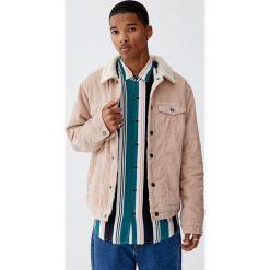 Sztruksowa kurtka z kołnierzem ze sztucznego baranka. Fioletowe kurtki męskie marki KIPSTA, m, z elastanu, z długim rękawem, na fitness i siłownię. Za 199,00 zł.