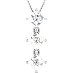 Naszyjniki damskie: Srebrny naszyjnik z diamentami – dł. 40 cm