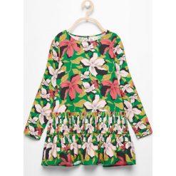 Odzież dziecięca: Długa bluzka w kwiaty - Zielony