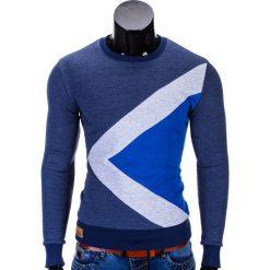 BLUZA MĘSKA BEZ KAPTURA ERICO B575 - GRANATOWA. Niebieskie bluzy męskie Ombre Clothing, m, z bawełny, bez kaptura. Za 59,00 zł.