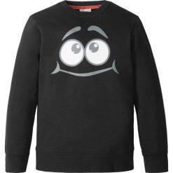 Bluza z modnym nadrukiem bonprix czarny. Czarne bluzy chłopięce rozpinane marki bonprix, m, z aplikacjami, z polaru. Za 32,99 zł.