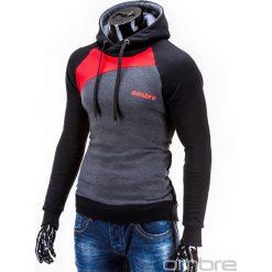 BLUZA MĘSKA Z KAPTUREM MIGUEL - CZERWONA. Czerwone bluzy męskie rozpinane marki Ombre Clothing, m, z bawełny, z kapturem. Za 79,00 zł.