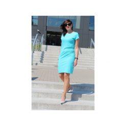 Sukienka klasyczna z dzianiny. Niebieskie sukienki balowe marki Szarymary, na lato, z bawełny, z klasycznym kołnierzykiem, ołówkowe. Za 109,00 zł.