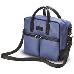 CIDRO Męska torba na ramię na laptopa niebieska. Niebieskie torby na ramię męskie Solier, w paski, ze skóry ekologicznej. Za 169,00 zł.
