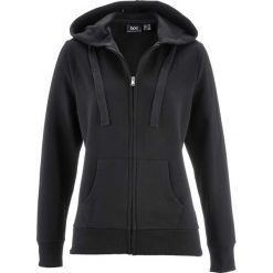 Bluza rozpinana bonprix czarny. Czarne bluzy rozpinane damskie bonprix, w paski, z kapturem. Za 59,99 zł.