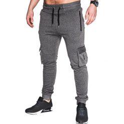 SPODNIE MĘSKIE DRESOWE P429 - GRAFITOWE. Szare spodnie dresowe męskie Ombre Clothing, z bawełny. Za 35,00 zł.