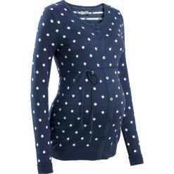 Sweter ciążowy rozpinany w kropki bonprix ciemnoniebiesko-biały w kropki. Białe kardigany damskie bonprix. Za 109,99 zł.