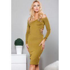 Sukienki: Sukienka z wycięciami oliwkowa TA2478