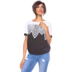 """Bluzki asymetryczne: Koszulka """"Lou"""" w kolorze czarno-białym"""