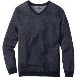 Swetry męskie: Sweter z dekoltem w serek Regular Fit bonprix ciemnoniebieski melanż