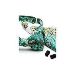 Komplet Mucha wiązana FLORES kwiaty +poszetka +spinki do mankietów. Zielone muchy męskie HisOutfit, w kwiaty, z materiału, wizytowe. Za 149,00 zł.