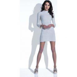 Sukienki: Ecru Sukienka Wełniana Dopasowana Mini