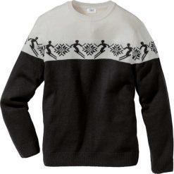 Swetry klasyczne męskie: Sweter norweski z domieszką wełny Regular Fit bonprix czarno-biel wełny wzorzysty