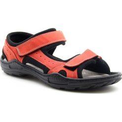 Sandały męskie: Sandały męskie skórzane czerwone Koher