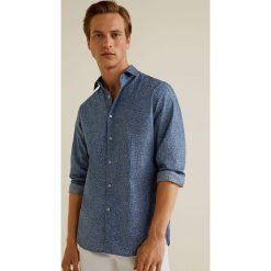 Mango Man - Koszula Adela. Szare koszule męskie na spinki Mango Man, l, z bawełny, z włoskim kołnierzykiem, z długim rękawem. W wyprzedaży za 89,90 zł.