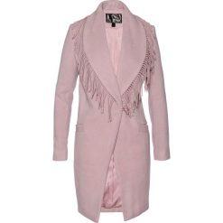 Płaszcz żakietowy z frędzlami bonprix różowobrązowy. Czerwone płaszcze damskie bonprix. Za 189,99 zł.