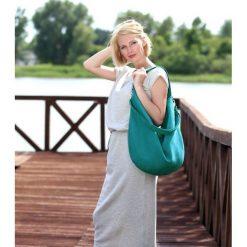 Turkusowa torba na lato worek na ramię. Niebieskie torebki klasyczne damskie Pakamera, w paski, z materiału. Za 169,00 zł.